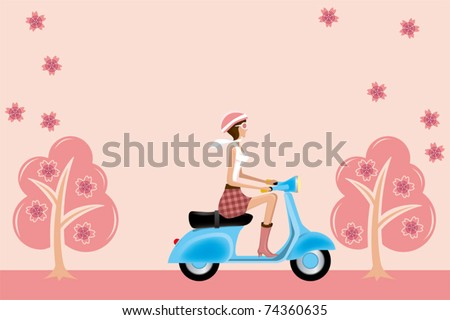Scooter girl on cherry blossoms. Illustration vector.