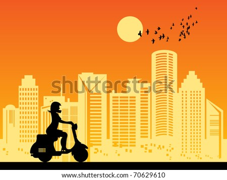 scooter girl silhouette in city