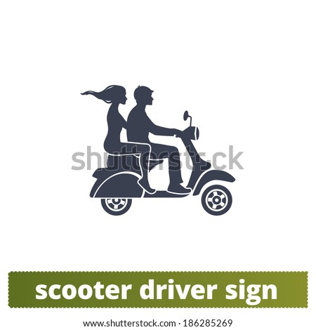 scooter icon  couple vector