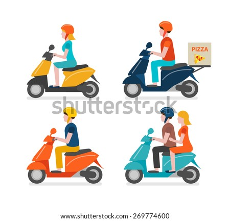 scooter riding icons set