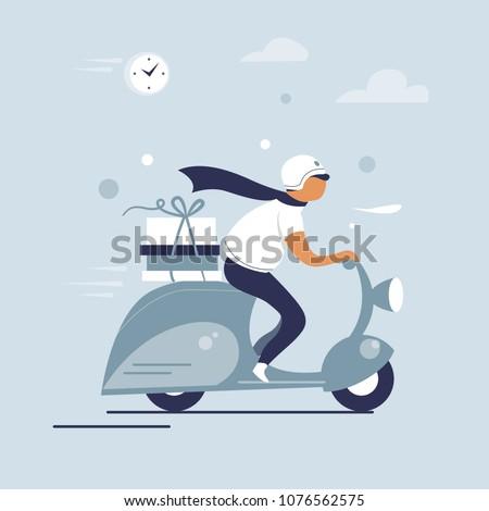 Scooter riding man, pizza delivery courier, flat character design, vector illustration.