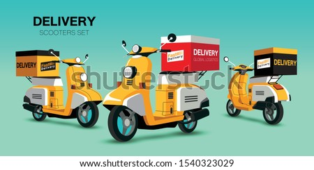 Scooters set. Old style motorbike, city motorcycle, trendy electric bike, delivery moped. Personal transport vehicle collection isolated vector illustration
