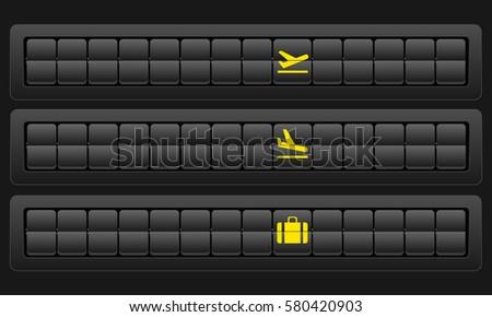 Scoreboard airport blank mockup. Flights scoreboard. Departures and arrivals blank board. Vector illustration