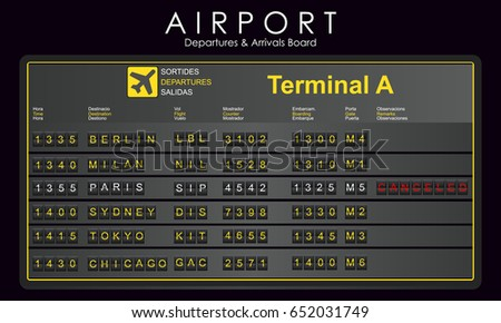 Scoreboard airport with destination information, cities, schedule. Departures and arrivals board. Vector illustration