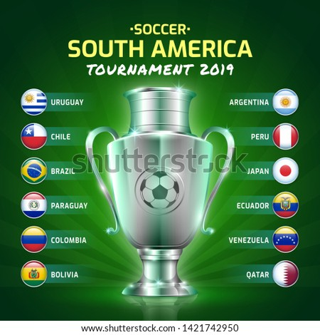 Scoreboard broadcast soccer south america's tournament 2019 template for sport football championship vector illustration