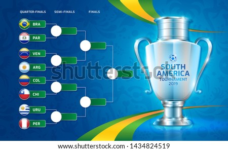 Scoreboard broadcast soccer south america's tournament 2019 template round quarter finals for sport football championship vector illustration