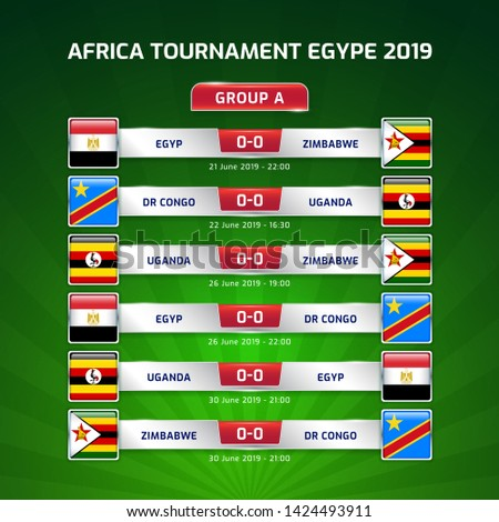 Scoreboard broadcast template for sport soccer africa tournament 2019 Group A and football championship in egypt vector illustration