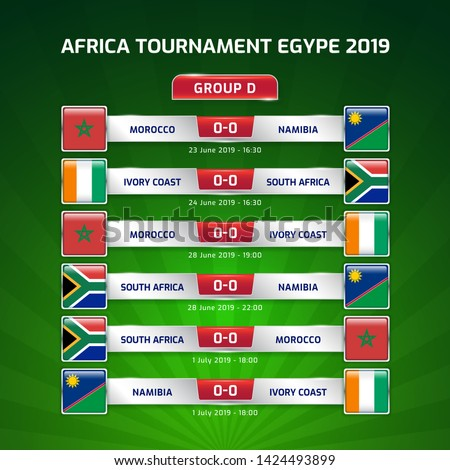 Scoreboard broadcast template for sport soccer africa tournament 2019 Group D and football championship in egypt vector illustration