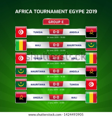Scoreboard broadcast template for sport soccer africa tournament 2019 Group E and football championship in egypt vector illustration