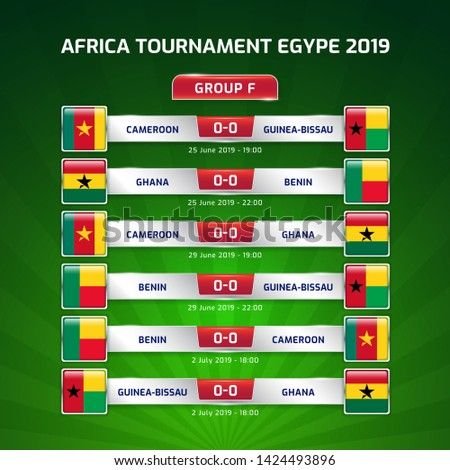 Scoreboard broadcast template for sport soccer africa tournament 2019 Group F and football championship in egypt vector illustration