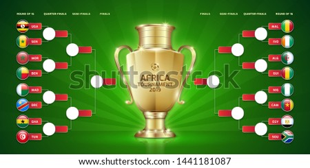 Scoreboard broadcast template for sport soccer africa tournament 2019 round of 16 teams and football championship in egypt vector illustration