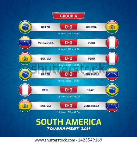 Scoreboard broadcast template for sport soccer south america's tournament 2019 group A and football championship vector illustration