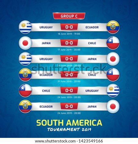Scoreboard broadcast template for sport soccer south america's tournament 2019 group C and football championship vector illustration