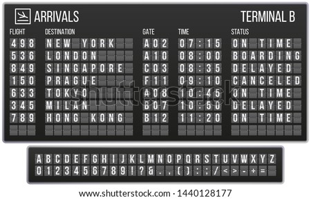 Scoreboard flip font. Arrival airport signs board, railroad arrivals and departures scoreboards letters. Flipping departure countdown, arrivals counter realistic vector symbols set