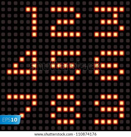 Scoreboard lamp numbers set. Vector Eps10 illustration.