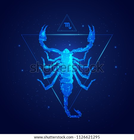 scorpio horoscope sign in twelve zodiac with galaxy stars background, graphic of wireframe scorpion