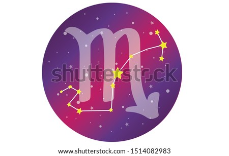 Scorpio signs, zodiac background, beautiful and simple vector images amidst starry galaxies along with the constellation Scorpio in front of a sphere with the Scorpio constellation symbol.