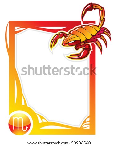 Scorpio, the eighth sign from the series of the zodiac frames in cartoon style, vector illustration