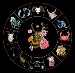 Scorpio vector of Astrology design.horoscope circle with signs of zodiac set vector.signs such as a aries, taurus, gemini, cancer, leo, virgo, libra, scorpio, sagittarius, capricorn,aquarius, pisces.