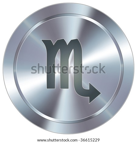 Scorpio zodiac sign horoscope icon on round stainless steel modern industrial button