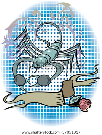 stock vector : Scorpio zodiac sign in tattoo style