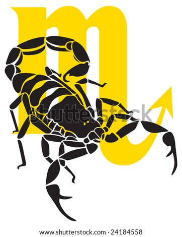 Scorpio zodiac sign with it's symbol on the background.
