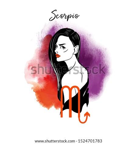 Scorpio. Zodiac signs girl illustration.Vector sketch and watercolor background.