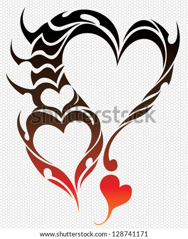 scorpion heart tattoo stock vector illustration 128741171 shutterstock. Black Bedroom Furniture Sets. Home Design Ideas