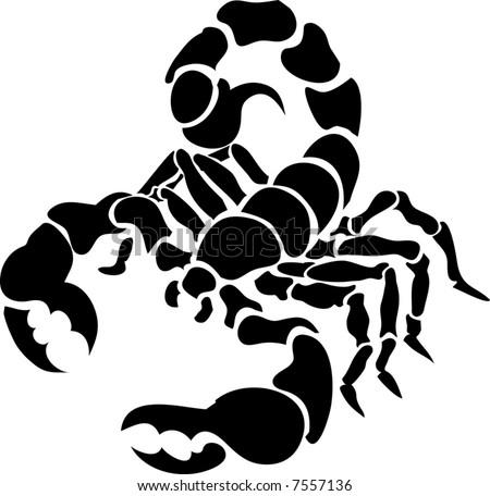 Scorpion.  Monochrome vector illustration of a stylised scorpion