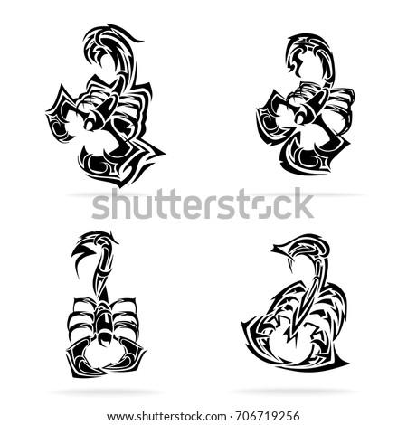 scorpion set  on white