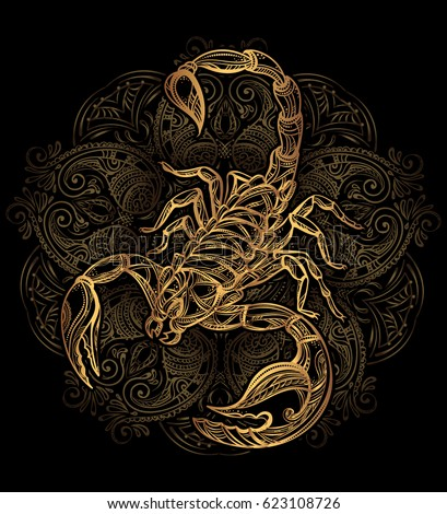Scorpion tattoo - ornate gold scorpion image on black background, sign horoscope