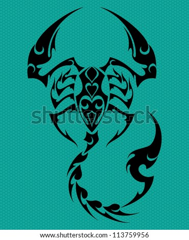 html tagged as scorpion tribal tattoo stock vector 113759956