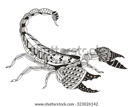 scorpion zentangle stylized