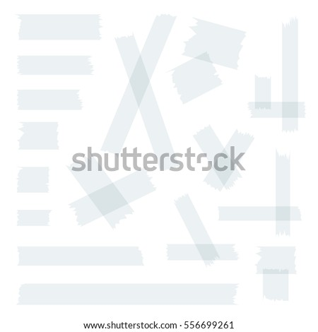 Scotch, adhesive tape collection, different size pieces isolated on white background . Vector set