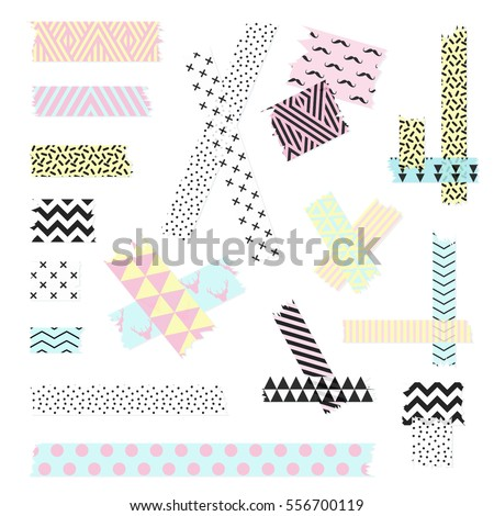 Scotch, color patterned adhesive tape collection, different size pieces isolated on white background. Vector set