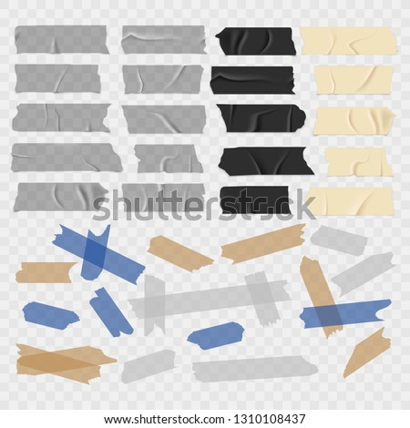 Scotch tape. Old and black grunge, transparent adhesive tapes, sticky duct piece vector illustration set