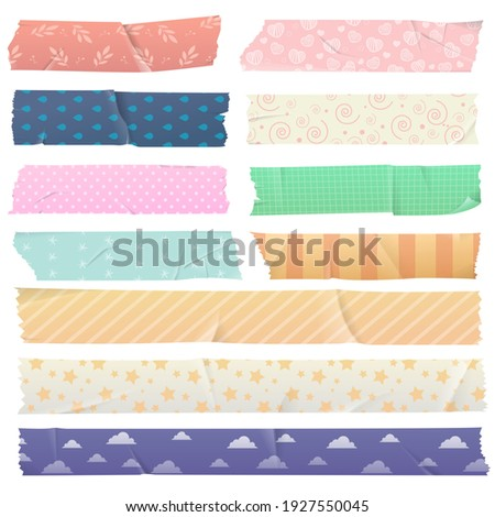 Scotch tape set with pattern Washi tape. Design elements for jewelry, adhesive tapes with colorful patterns, decorative tape. Vector illustration