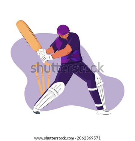 Scotland Cricket Batter Losing His Wicket On Purple And White Background.