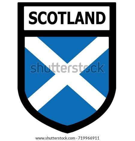 Scotland Flag Shield Patch. Vector.