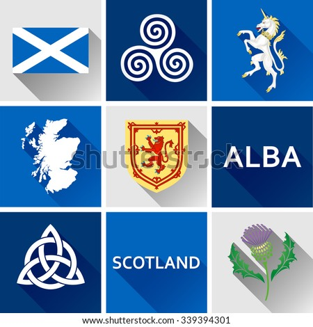 scotland flat icon set vector