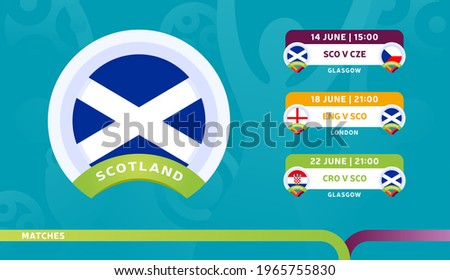scotland national team Schedule matches in the final stage at the 2020 Football Championship. Vector illustration of football euro 2020 matches.