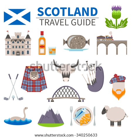 scotland travel icons set with