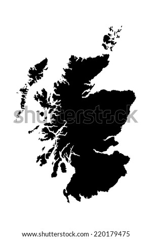Scotland vector map silhouette isolated on white background. High detailed silhouette illustration.