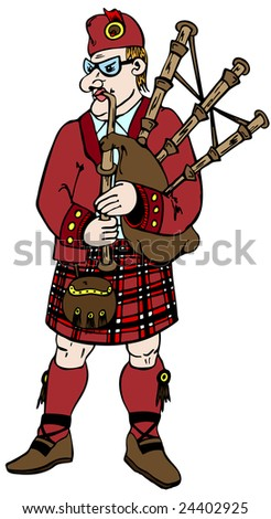 Scotsman in traditional clothes with bag-pipes Сток-фото ©