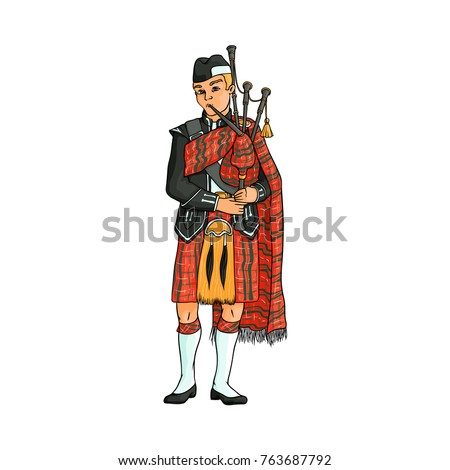 Scottish bagpiper, piper in traditional tartan kilt, hand drawn vector illustration isolated on white background. Full length portrait of Scottish piper, bagpiper in national clothes, tartan kilt