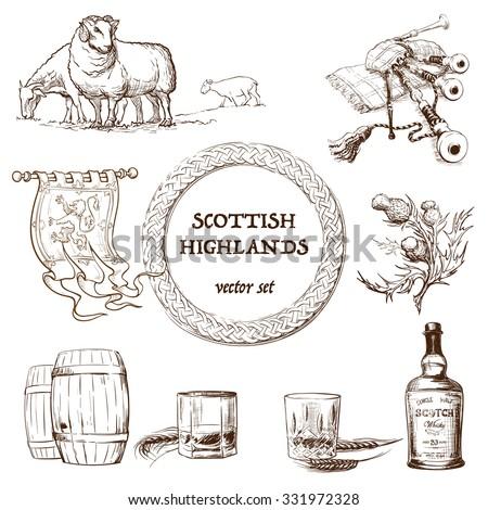 scottish highlands set set of