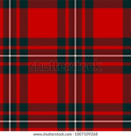 Scottish plaid, tartan seamless pattern, dark green, black and white over the red field