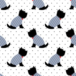 Scottish terrier in a sailor t-shirt seamless pattern. Sitting dogs on white polka dots background. Child drawing style puppy background. French style dressed dog with red medal and striped frock.