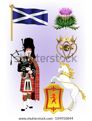 Scottish Vector Illustrations - Scottish Flag, Cotton Thistle, Luckenbooth, Scottish Piper and the Unicorn and Rampant Lion Shield