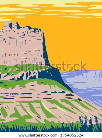 Scotts Bluff National Monument Located near the City of Gering in Nebraska Along the North Platte River WPA Poster  ストックフォト ©